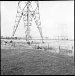 4372-1 Hoogspanningkabels bij Pernis. Op de achtergrond de elektriciteitscentrale Waalhaven.