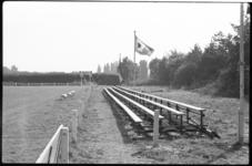 4454 Lange rij kale bankjes op terrein van HOV in het Kralingse Bos.
