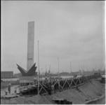 494 Tribunes worden opgebouwd bij De Boeg in verband met de komende onthulling van het monument door prinses Margriet.