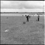 5354-1 Mannen aan het papierprikken bij strandbad Kralingse Plas.