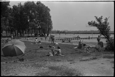 5355-1 Recreërende mensen op grasveld bij het strandje aan de Wilgenplas in de wijk Schiebroek.