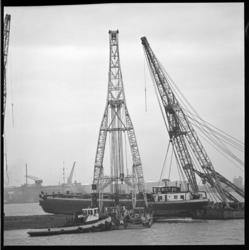 7297 Motorschip Escotia gelicht door twee bokken nadat het vastgelopen was op het Kruiteiland tussen de Oude Maas en de ...