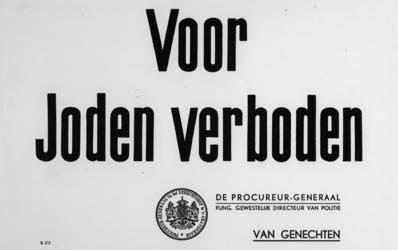 1968-280 Mededeling: Voor Joden verboden, ondertekend door de procureur-generaal bij het gerechtshof te 's-Gravenhage ...