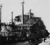 1971-2179 Het in aanbouw zijnde koopvaardijschip Westerdam van de Holland Amerika lijn, afgedekt met camouflagenetten.