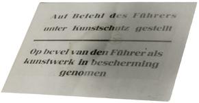1972-10 Pamflet met de tekst: Auf Befehl des Führers unter Kunstschutz gestellt - Op bevel van den Führer als kunstwerk ...