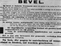 1972-8 Pamflet met de tekst: Op bevel van de Duitsche Weermacht moeten alle mannen in de leeftijd van 17 t/m 40 jaar ...