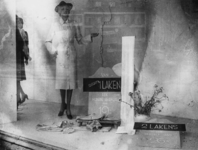 1977-3124 In een etalage wordt reclame gemaakt voor het maken van regenjassen uit lakens: Van slechts 1 laken een ...