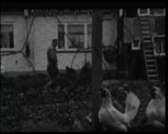 BB-4684 De buurman repareert het dak van het huis van Rob en Anna. De katten. Anna wast zich in een teiltje water. ...