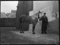 2007-2565-13 Een paard en zijn begeleider op de wagenplaats van de firma Tromp en Rueb, Azijnmakerij 'De Dubbele ...