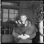 493 Portret van Chris Baris met apen. Baris is dierenverzorger van Diergaarde Blijdorp.