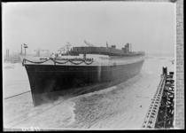 RDM-11210 De tewaterlating van het SS Nieuw Amsterdam (2) van de Rotterdamsche Droogdok Maatschappij, RDM.