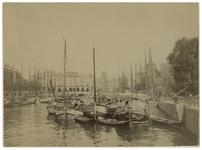 1971-2011 Zicht op de Oudehaven met schepen erin. Op de achtergrond Plan C aan de Oudehavenkade.