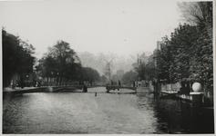 VIII-147-a Zicht op de Schiedamsesingel met op de achtergrond een molen. In het midden is een brug te zien.