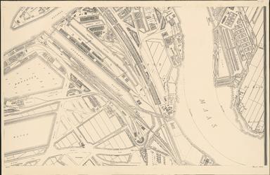 I-127-7 Plattegrond van Rotterdam. Blad 7: het afgebeelde gebied omvat Feijenoord, de Nieuwe Maas en het terrein van ...