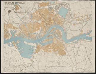 I-210-1 Plattegrond van het middendeel van Rotterdam met aanduiding van het gebied dat is verwoest door het ...