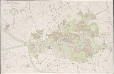 I-241 Plattegrond van Rotterdam en omgeving, met aanduiding van gemeentegrenzen, bebouwde omgeving en haven- en ...
