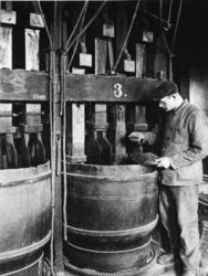 1968-2483 Het fijnhakken van carotten met hakmessen in de draaiende tonnen van de molen 'De Ster' aan de Plaszoom.