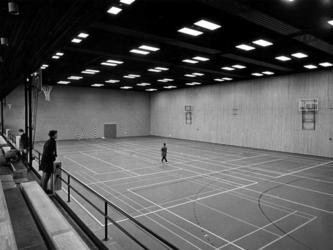 1970-913 Nederlandse Economische Hogeschool aan de Burgemeester Oudlaan met sporthal en tribuneplaatsen.