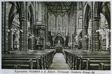 1973-279 Het interieur van de rooms-katholieke kerk Allerheiligste Verlosser aan de Goudserijweg, vanaf het altaar gezien.