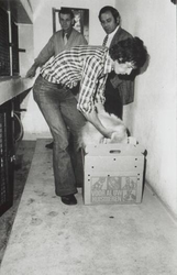 1974-1976 Gezicht op de gang in het dierenopvangcentrum van de Dierenbescherming Rotterdam aan de Abraham van Stolkweg, ...