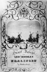 1976-1608 3 snuifmolens aan de Kortekade, een afbeelding van een prent op een reclameplaat.