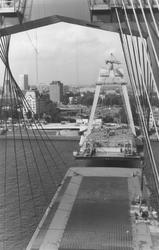 1981-6 Bouw van de nieuwe Willemsbrug over de Nieuwe Maas.Gezien vanaf de zuidelijke oever in de richting van omgeving ...