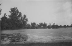 IX-1619 Gezicht op de Kortekade, Kralingse Plaslaan. Achtergrond de molens Ster en Lelie.