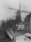IX-1884-01 Gezicht op de Mathenesserdijk bij de tol en molen De Graankorrel.