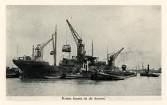 VII-88-42-4 Havenwerkzaamheden op de Nieuwe Maas.Lossen van kolen.