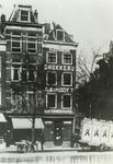 XIV-426-03 Haringvliet, pand van kantoorboekhandel en elektrische drukkerij G.B.'t Hooft, rechts de Koestraat.