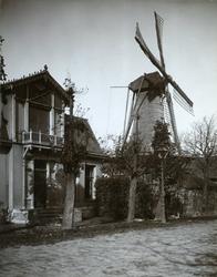 XVI-21 De specerijmolen 'De Lelie' aan de Kortekade. Links het huis van de directeur van de gasfabriek aan de Kortekade 354.