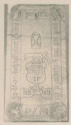 XVIII-12 Grafzerk van mr. Dirck Jansz. kapelaan en zijn ouders in de Prinsenkerk aan de Gedempte Botersloot.