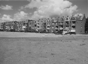 XXV-328-29-09 Gezicht op de achterzijde van de huizen aan de Honingerdijk. Voorgrond het gedeelte van de Buizenwaal