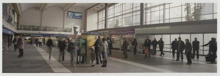 2003-1054-6 De hal bij de hoofdingang van het Centraal Station. Reizigers kopen een ticket bij de automaat. Uit een ...