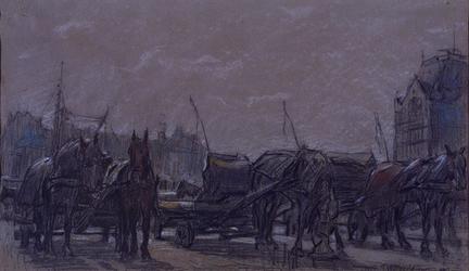 1968-563 Sleperspaarden en sleperswagens op het Oude Hoofdplein bij de Oudehaven, op de achtergrond rechts het Witte ...