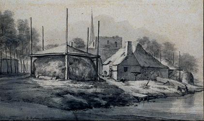 1969-1444 Gezicht op de boederijen en ruïne, met op de achtergrond de kerktoerenspits te Hillegersberg.
