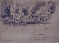 1980-2362 Bombardement op Rotterdam-Centrum, gezien vanaf Noordereiland, 14 mei 1940. Brandende gebouwen aan de ...