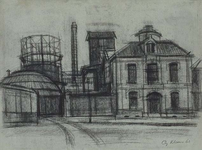 1982-181 Gebouwen van de gasfabriek. Uit noordelijke richting vanaf de Persoonshaven.