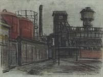 1982-182 Gebouwen van de gemeentelijke Gasfabriek. Uit het noorden.