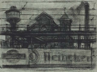 1982-183 Gebouwen van de Gemeentelijke Gasfabriek aan de Persoonshaven uit westelijke richting vanaf de Rosestraat. Op ...