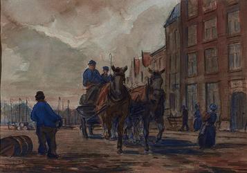 1982-944 Sleperswagen op de Admiraliteitskade bespannen met twee paarden. Links een man in blauwe kiel.