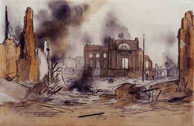 1988-6 Gezicht op een deel van het door de Duitsers op 14 mei 1940 platgebombardeerde centrum van de stad met in het ...