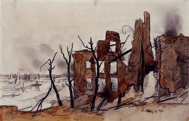1988-7 Gezicht op een deel van de wijk Kralingen met ruïnes, veroorzaakt door het door de Duitsers op 14 mei 1940 ...