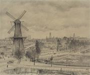 III-187 Het Oostplein met de molen de Noord en de Goudsesingel met noodwinkels.