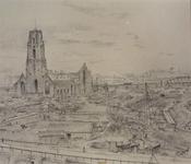 III-209 De verwoeste Grote Kerk met op de voorgrond de aanleg van de Leuvesluis, op de achtergrond het spoorwegviaduct, ...