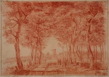IX-2472 Parklaan.Nieuwe Werksdijk uit het oosten, op de achtergrond houtzaagmolen Francois van Swijndregt.