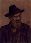 P-020067 Portret van Adrianus Gijzeling, bekend als Centje Duikelaar, straatventer. Hij verkocht papieren duikelaars - ...