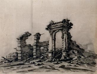 RI-1578 13 mei 1849De uitgebrande resten van de stoomsuikerraffinaderij van P. Tromp aan de Leuvehaven