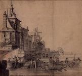 RI-566 De Ooster Oude Hoofdpoort aan de Oude Haven. Op de achtergrond molen Het Zeeuwse Wapen.