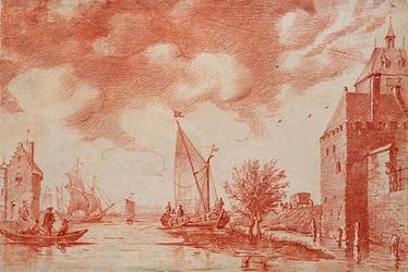 RI-642 de Maeze te sien van de Schiedamse poirt Leuvehaven, links toren Luchtenburg, rechts Schiedamse Poort, uit het ...